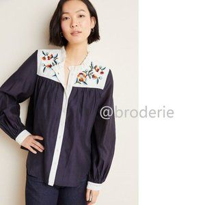 nwt Anthropologie Brooke Embroidered Blouse
